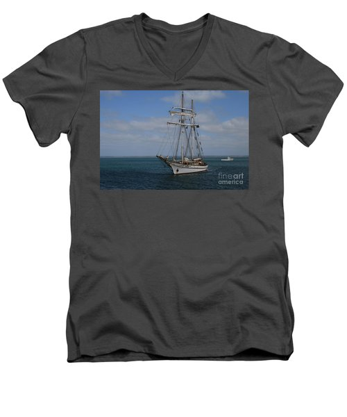 Men's V-Neck T-Shirt featuring the photograph Approaching Kingscote Jetty by Stephen Mitchell