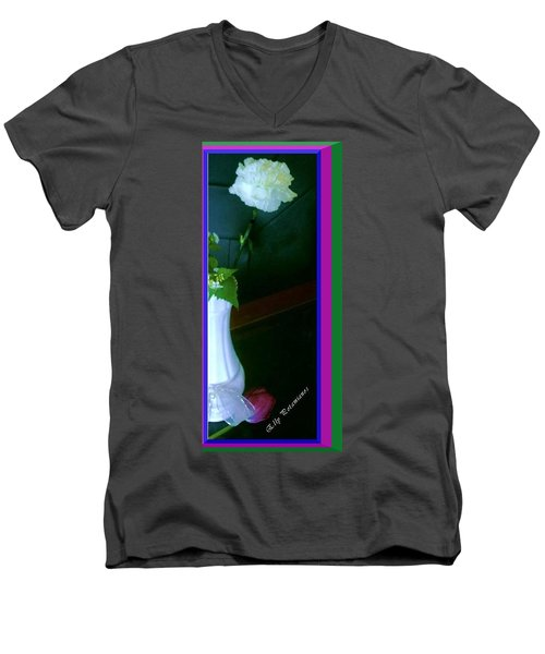 One Carnation And One Rose Bud Men's V-Neck T-Shirt