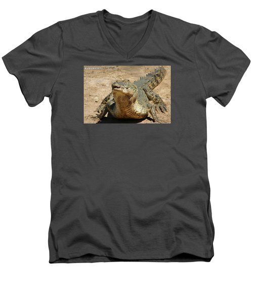 Men's V-Neck T-Shirt featuring the photograph One Crazy Saltwater Crocodile by Gary Crockett