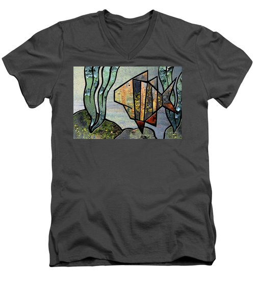 One Fish Men's V-Neck T-Shirt by Joan Ladendorf