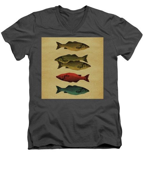 Men's V-Neck T-Shirt featuring the drawing One Fish, Two Fish . . . by Meg Shearer