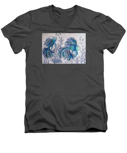 One Fish, Two Fish, Lilac Green And Blue Fish Men's V-Neck T-Shirt by Megan Walsh