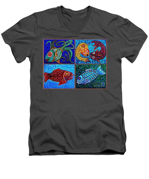 One Fish Two Fish Men's V-Neck T-Shirt by Sarah Loft