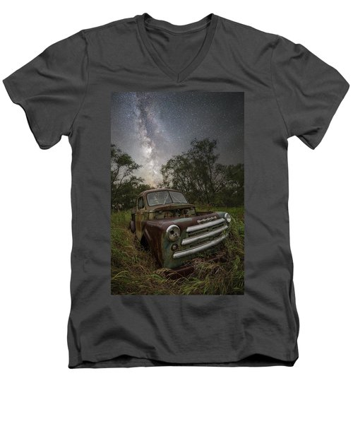 Men's V-Neck T-Shirt featuring the photograph One Headlight  by Aaron J Groen