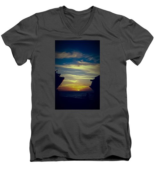 Men's V-Neck T-Shirt featuring the photograph One Last Glimpse by DigiArt Diaries by Vicky B Fuller