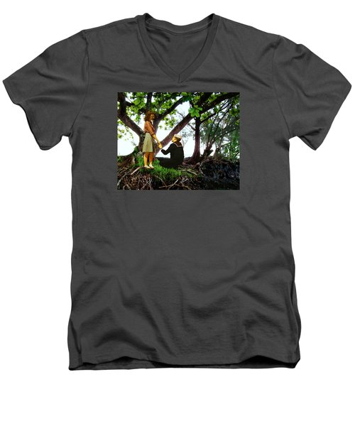 One Moment In Paradise Men's V-Neck T-Shirt by Timothy Bulone