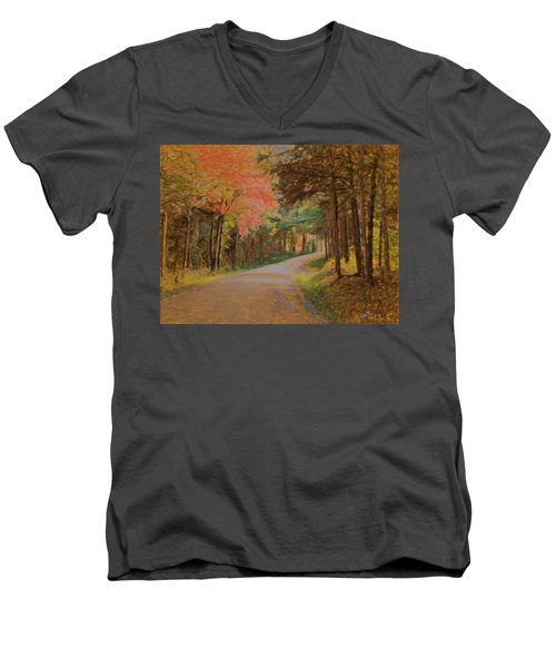 Men's V-Neck T-Shirt featuring the digital art One More Country Road by John Selmer Sr