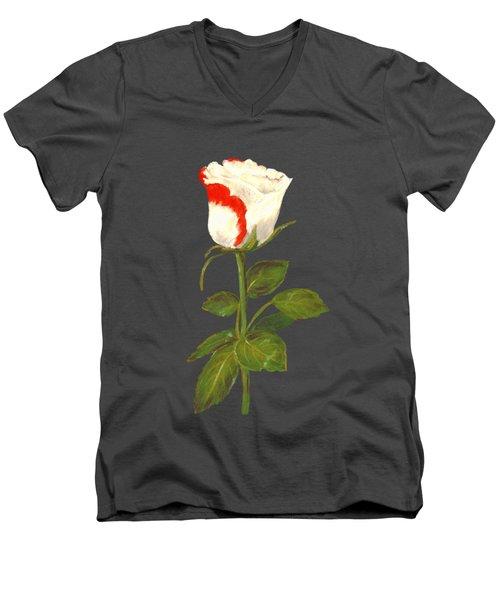 Men's V-Neck T-Shirt featuring the pastel One Rose by Anastasiya Malakhova