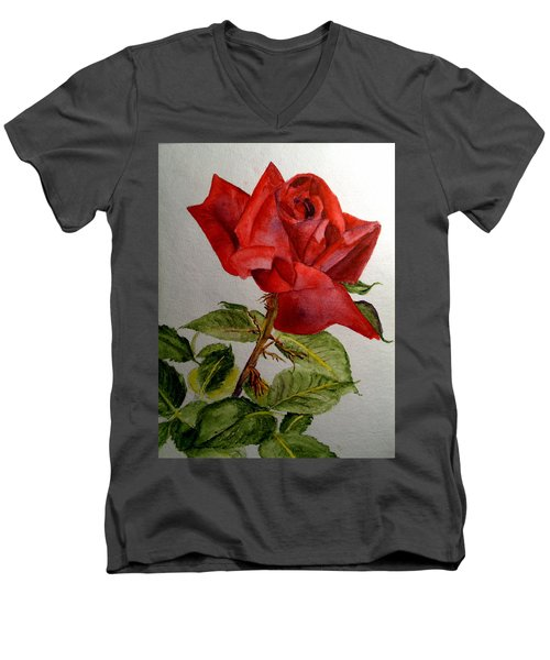 Men's V-Neck T-Shirt featuring the painting One Single Red Rose by Carol Grimes