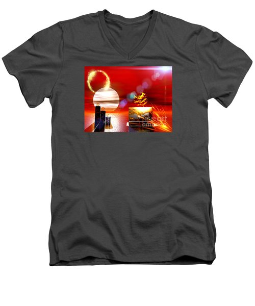 Men's V-Neck T-Shirt featuring the digital art One Step Beyound by Jacqueline Lloyd