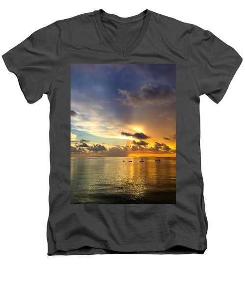Men's V-Neck T-Shirt featuring the photograph One Summer Night... by Melanie Moraga