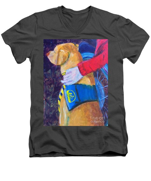 Men's V-Neck T-Shirt featuring the painting One Team Two Heroes 3 by Donald J Ryker III