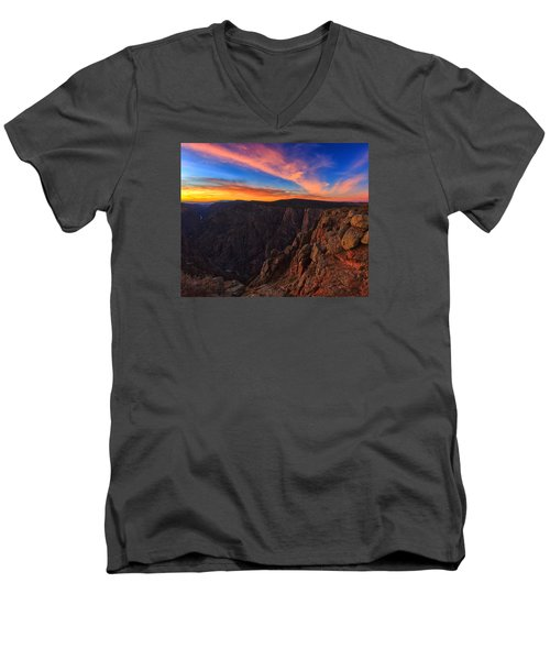 On The Edge Men's V-Neck T-Shirt by Rick Furmanek