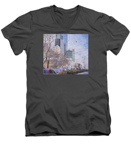 Men's V-Neck T-Shirt featuring the photograph One Winter Day by Vladimir Kholostykh