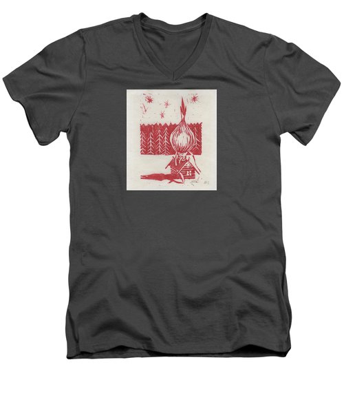 Men's V-Neck T-Shirt featuring the mixed media Onion Dome by Alla Parsons