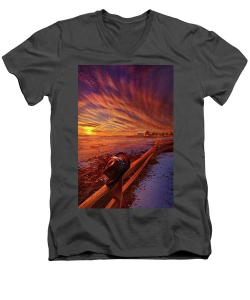 Men's V-Neck T-Shirt featuring the photograph Only This Moment In Between Before And After by Phil Koch