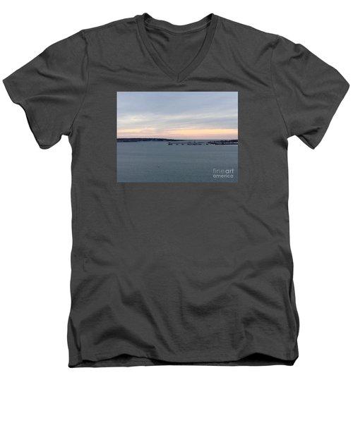 Opalescent January Sunrise On Casco Bay Men's V-Neck T-Shirt by Patricia E Sundik