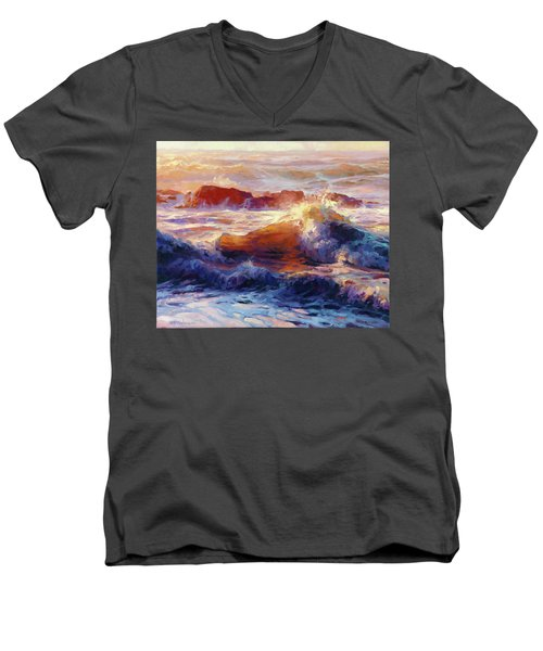Men's V-Neck T-Shirt featuring the painting Opalescent Sea by Steve Henderson