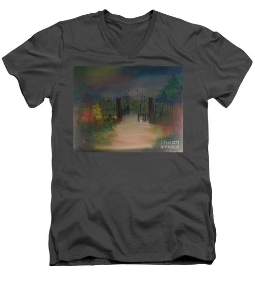 Men's V-Neck T-Shirt featuring the painting Open Gate by Denise Tomasura