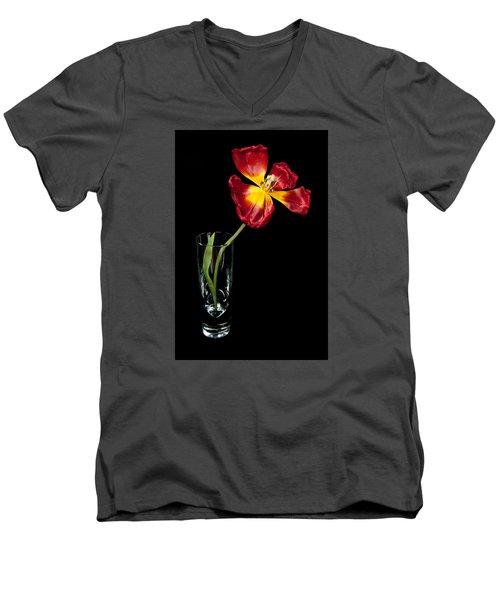 Open Red Tulip In Vase Men's V-Neck T-Shirt by Helen Northcott