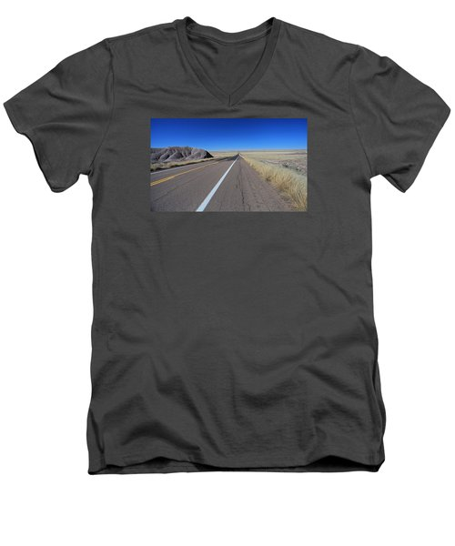 Men's V-Neck T-Shirt featuring the photograph Open Road by Gary Kaylor