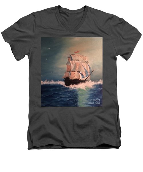 Men's V-Neck T-Shirt featuring the painting Open Seas by Denise Tomasura