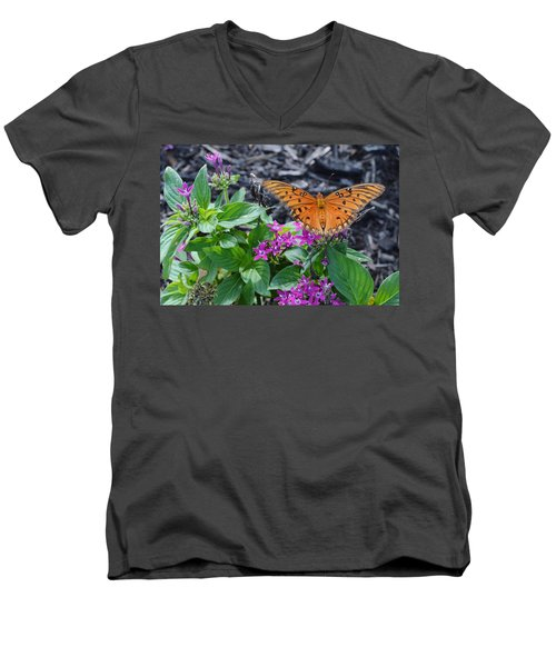 Open Wings Of The Gulf Fritillary Butterfly Men's V-Neck T-Shirt