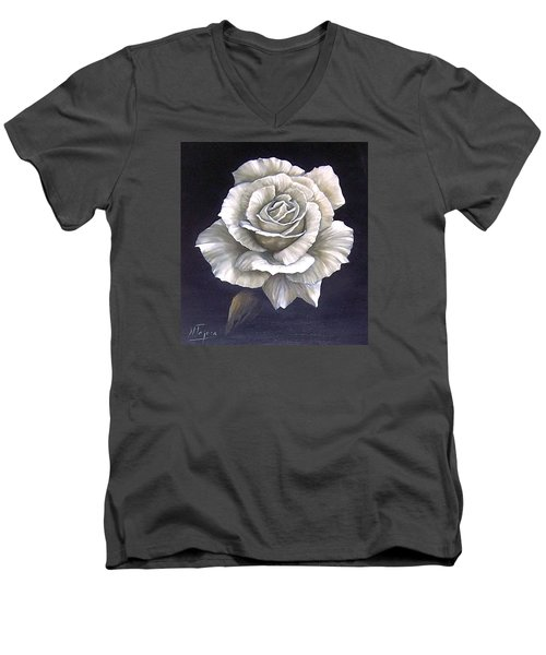 Men's V-Neck T-Shirt featuring the painting Opened Rose by Natalia Tejera