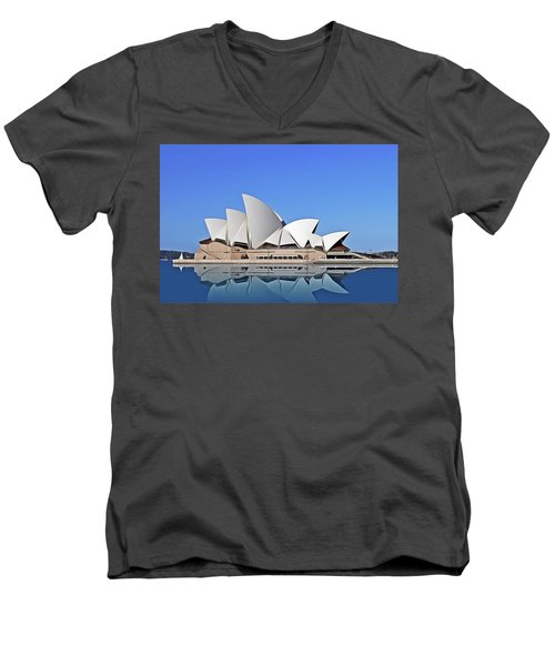 Men's V-Neck T-Shirt featuring the painting Opera House by Harry Warrick