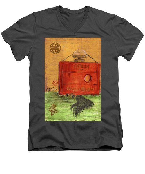 Men's V-Neck T-Shirt featuring the painting Opium by P J Lewis