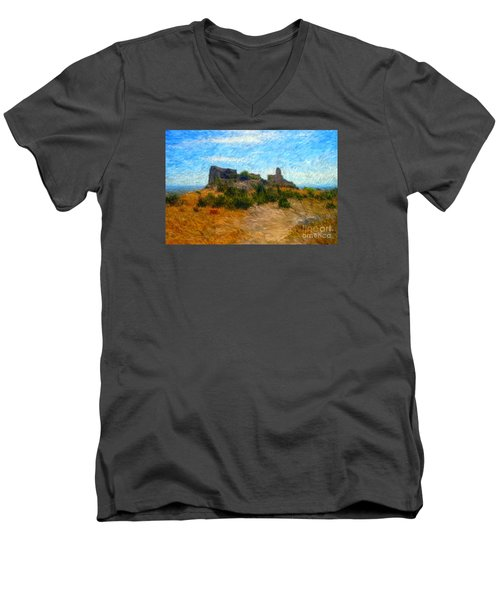Opoul Castle Ruins II Men's V-Neck T-Shirt