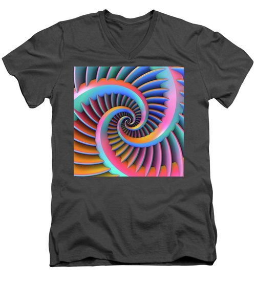 Men's V-Neck T-Shirt featuring the digital art Opposing Spirals by Lyle Hatch