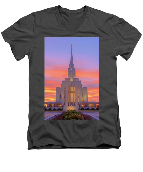 Men's V-Neck T-Shirt featuring the photograph Oquirrh Mountain Temple IIi by Chad Dutson