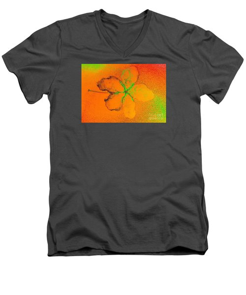 Orange Abstract Flower By Jasna Gopic Men's V-Neck T-Shirt by Jasna Gopic