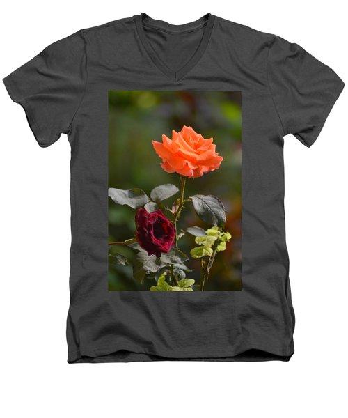 Orange And Black Rose Men's V-Neck T-Shirt