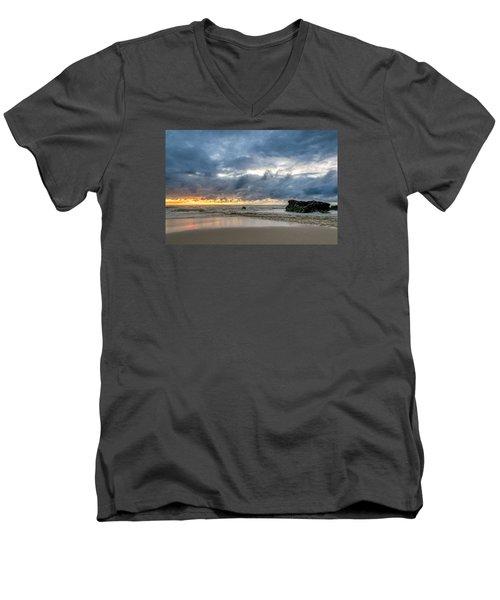 Orange And Blue Men's V-Neck T-Shirt by Martin Capek