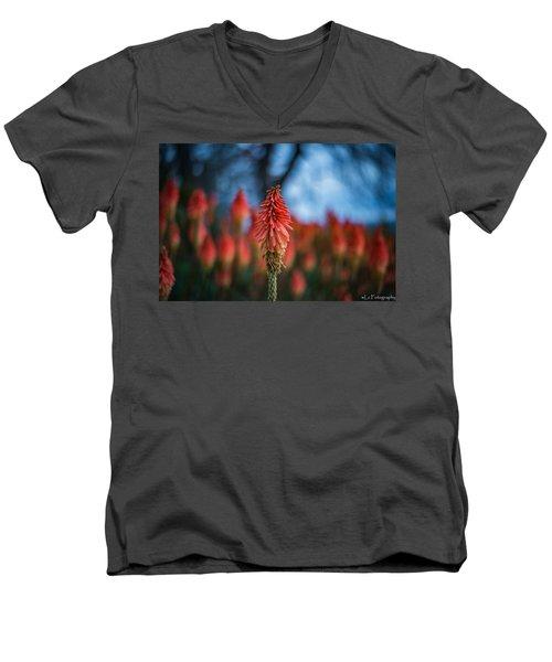 Orange And Blue Men's V-Neck T-Shirt
