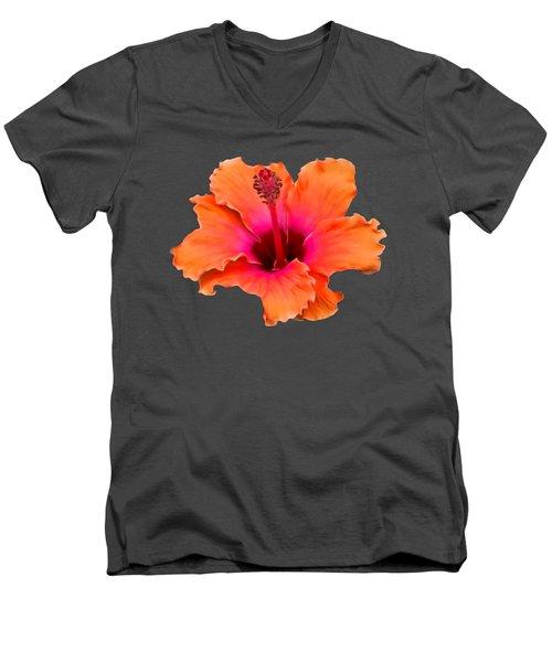 Orange And Pink Hibiscus Men's V-Neck T-Shirt by Pamela Walton