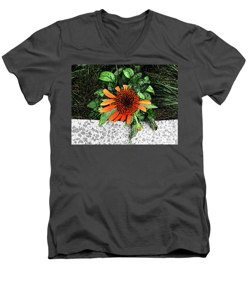 Men's V-Neck T-Shirt featuring the photograph Orange At Highline Nyc by Joan  Minchak