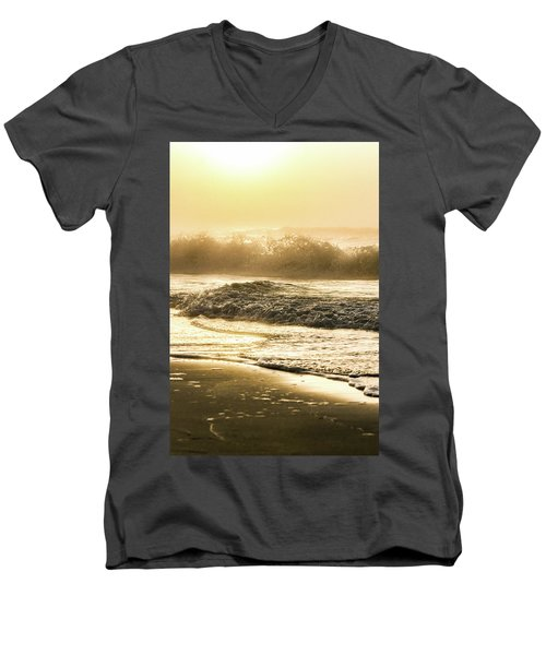 Men's V-Neck T-Shirt featuring the photograph Orange Beach Sunrise With Wave by John McGraw