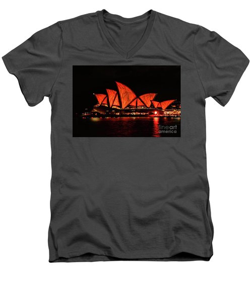 Orange Blast Men's V-Neck T-Shirt by Diana Mary Sharpton