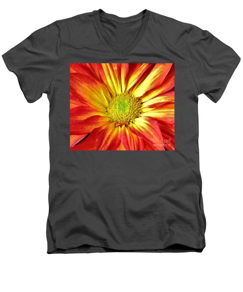 Men's V-Neck T-Shirt featuring the photograph Orange Burst by Allen Beatty