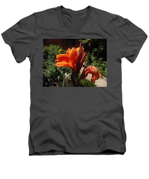 Orange Canna Lily Men's V-Neck T-Shirt by Rod Ismay