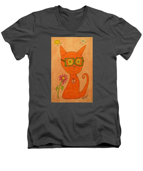 Orange Cat With Glasses Men's V-Neck T-Shirt