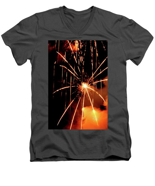 Orange Chetola Fireworks Men's V-Neck T-Shirt