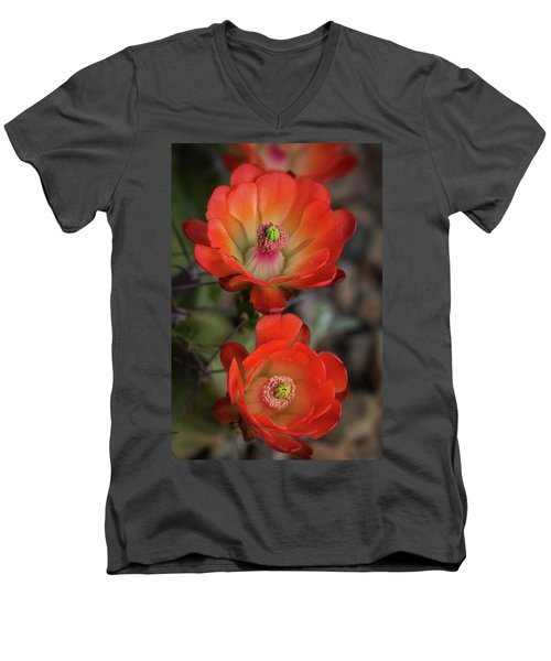 Men's V-Neck T-Shirt featuring the photograph Orange Claret Dreams  by Saija Lehtonen