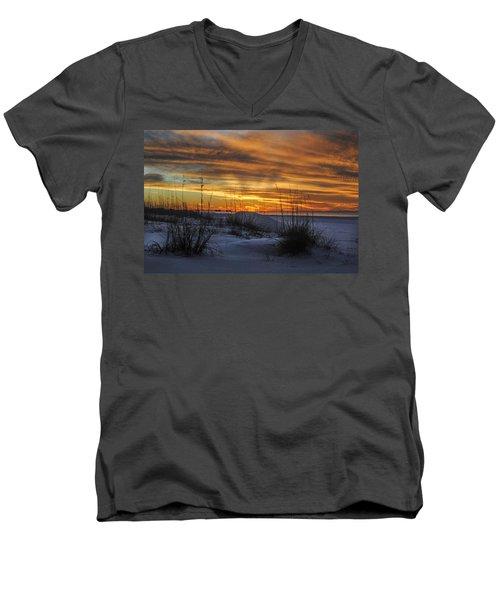 Orange Clouded Sunrise Over The Pier Men's V-Neck T-Shirt