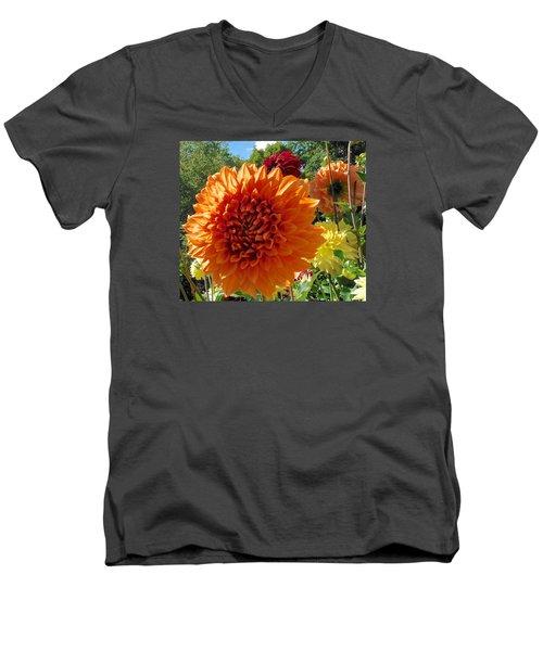 Orange Dahlia Suncrush  Men's V-Neck T-Shirt