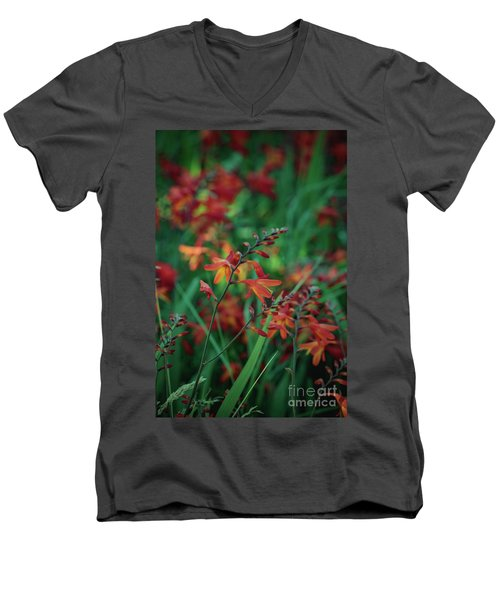 Orange Flowers 8 Men's V-Neck T-Shirt