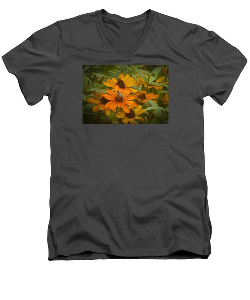 Orange Flowers And Bee Men's V-Neck T-Shirt